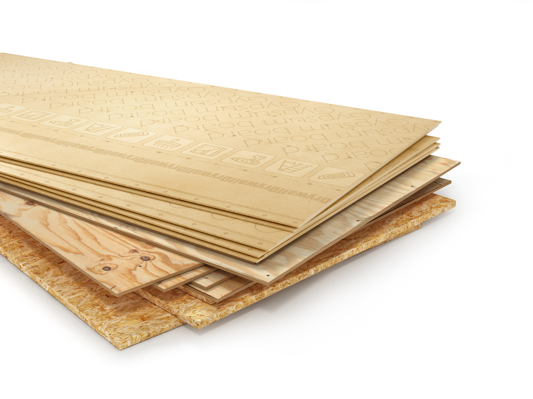 Stack of different boards. OSB, plywood and gypsum board. 3d illustration